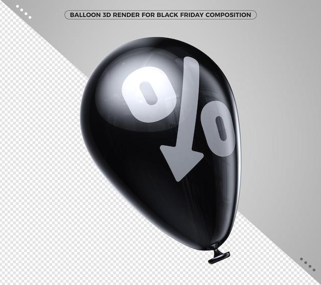 Czarny balon 3d render latający