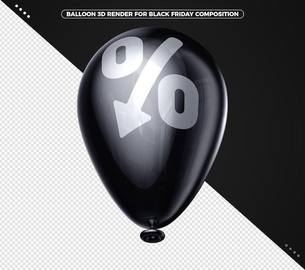Czarny balon renderujący 3d latający do kompozycji