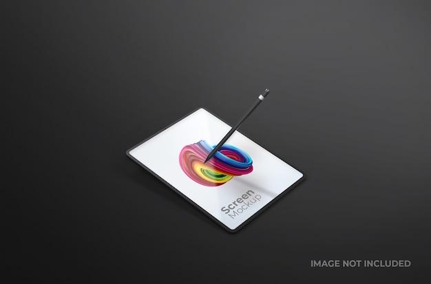 Czarny cyfrowy ekran tabletu z makieta pióra na białym tle