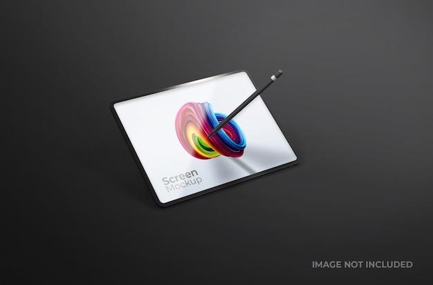 Czarny cyfrowy ekran tabletu z makietą pióra na białym tle