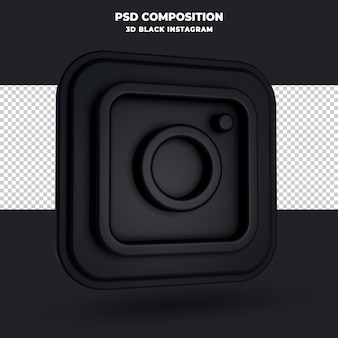 Czarny instagram logo renderowania 3d na białym tle