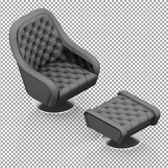 Czarny izometryczny fotel z podpórką na nogi