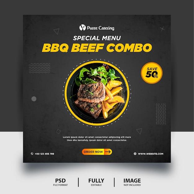 Czarny kolor bbq beef combo social media post banner