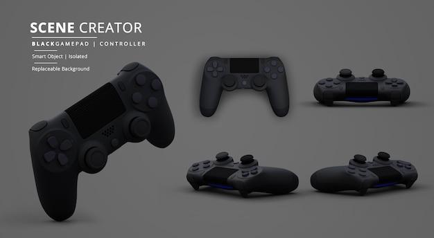 Czarny kontroler gier wideo gamepad w kreatorze scen z ciemnym tłem