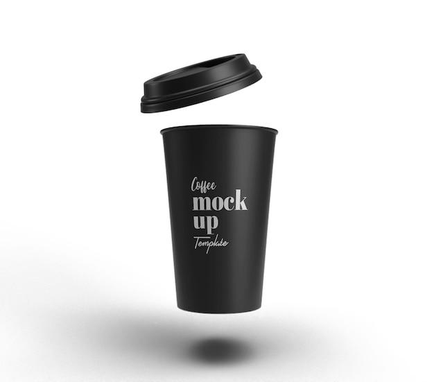 Czarny kubek splash na białym tle makieta renderowania 3d realistyczna