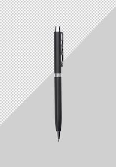 Czarny metalowy długopis na szarym tle makieta szablon dla swojego projektu.