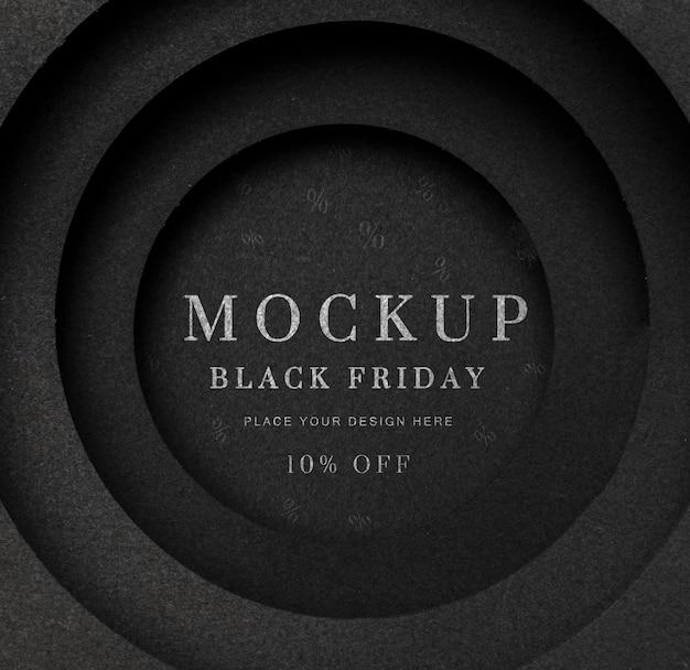 Czarny okrągły czarny piątek makieta