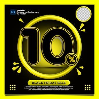 Czarny piątek 10 procent zniżki sprzedaż render 3d z kolorem żółtym