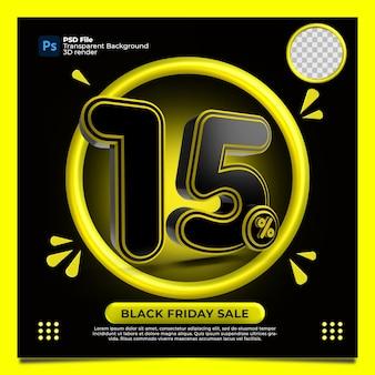Czarny piątek 15 procent zniżki sprzedaż render 3d z kolorem żółtym