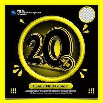 Czarny piątek 20 procent zniżki sprzedaż render 3d z kolorem żółtym