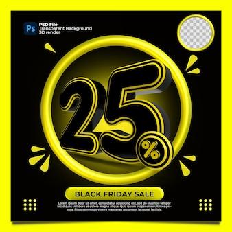 Czarny piątek 25 procent zniżki sprzedaż render 3d z kolorem żółtym