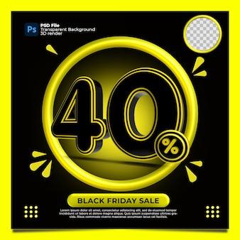 Czarny piątek 40 procent zniżki sprzedaż renderowania 3d z kolorem żółtym