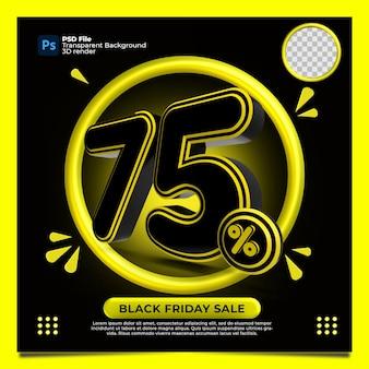 Czarny piątek 75 procent zniżki sprzedaż render 3d z kolorem żółtym
