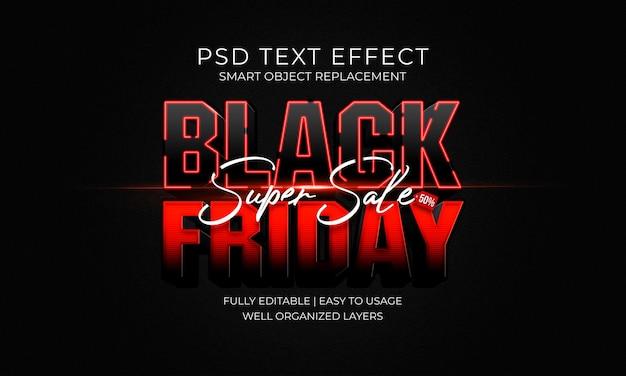 Czarny piątek czerwony czarny efekt tekstowy szablon