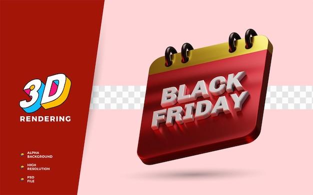 Czarny piątek dzień zakupów rabat flash sprzedaż festiwal 3d render obiektu ilustracja