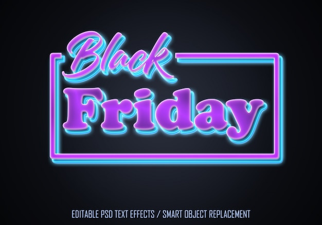 Czarny piątek edytowalny efekt tekstowy