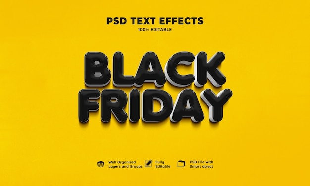 Czarny piątek efekt tekstowy 3d