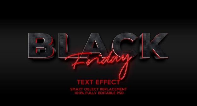 Czarny piątek efekt tekstowy szablon