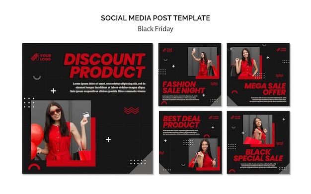 Czarny piątek koncepcja szablon postu w mediach społecznościowych