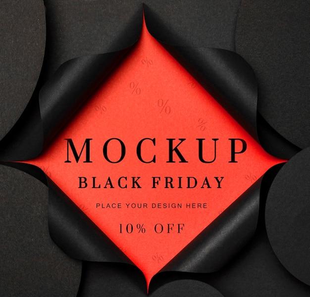 Czarny piątek makieta podarty czarny papier