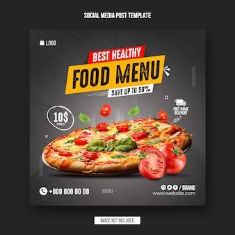 Czarny piątek menu żywności post w mediach społecznościowych i szablon projektu banera na instagramie