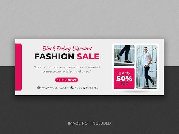 Czarny piątek oferta specjalna moda wyprzedaż szablon banera na okładkę na facebooku