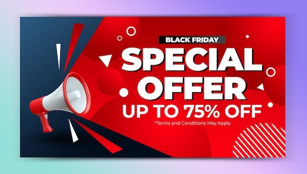 Czarny piątek oferta specjalna promocja szablonu projektu banera internetowego