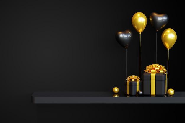 Czarny piątek podium szablon z pudełkiem prezentowym 3d i balonem miłości