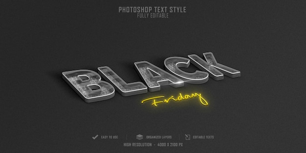 Czarny piątek projekt szablonu efektu stylu tekstu 3d