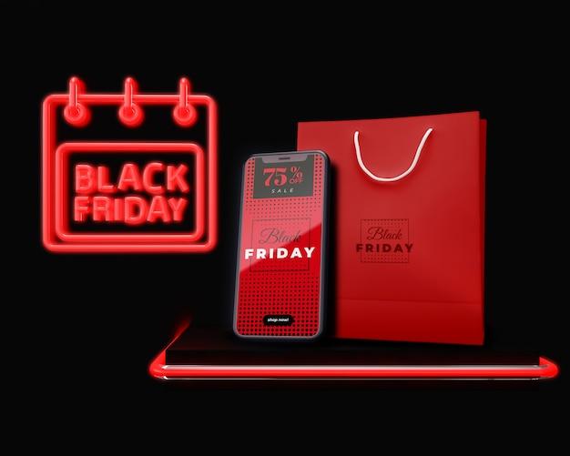 Czarny piątek reklamuje elektroniczne urządzenie reklamowe na sprzedaż