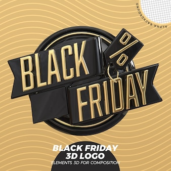 Czarny Piątek Renderowania Logo 3d Premium Psd