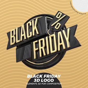 Czarny piątek renderowania logo 3d