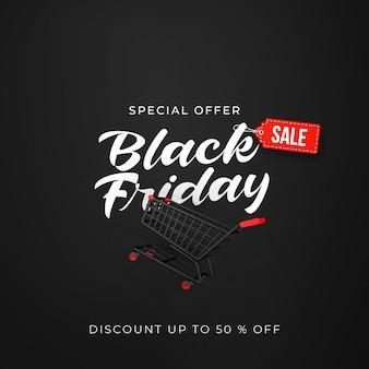 Czarny piątek sprzedaż banner z 3d czarnym wózkiem