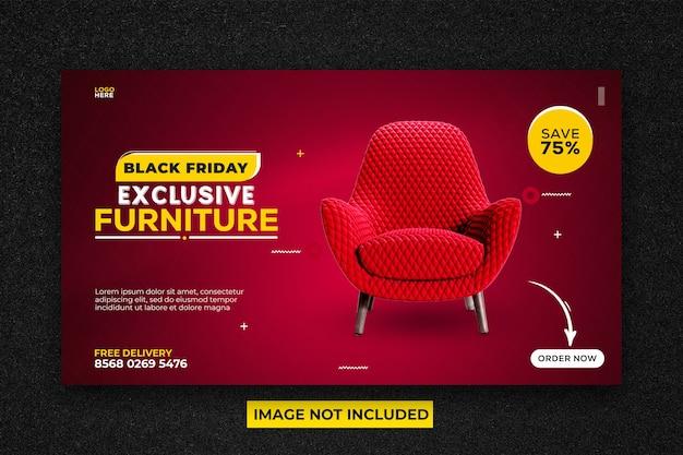 Czarny piątek sprzedaż mebli promocyjny szablon banera internetowego