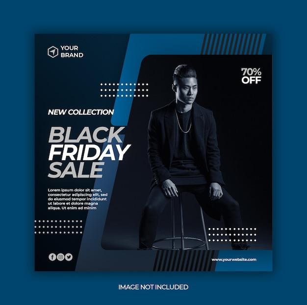 Czarny piątek sprzedaż mody baner lub kwadratowa ulotka dla szablonu postu w mediach społecznościowych