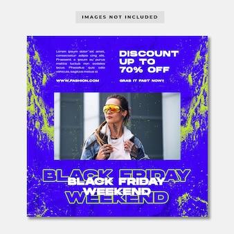 Czarny piątek sprzedaż mody szablon postu w mediach społecznościowych