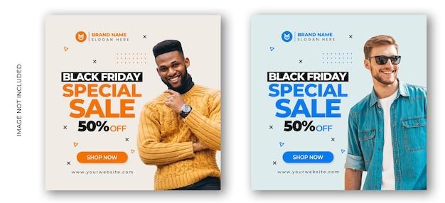 Czarny piątek sprzedaż mody w mediach społecznościowych szablon transparent postu
