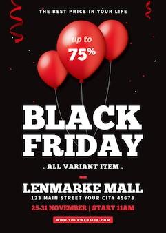 Czarny piątek sprzedaż plakat szablon ulotki