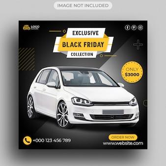 Czarny piątek sprzedaż samochodów w mediach społecznościowych szablon postu