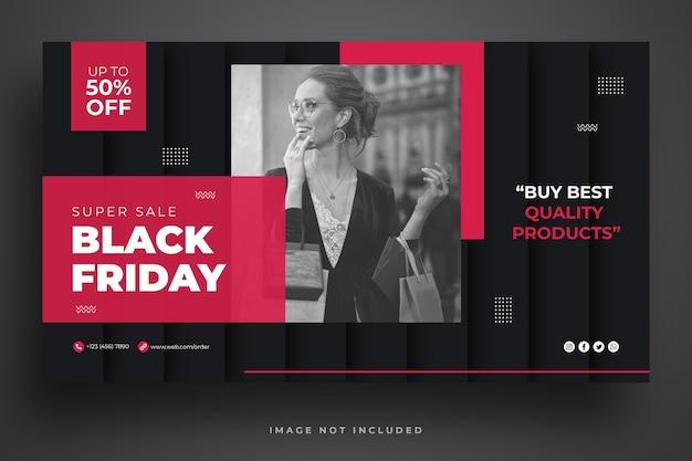 Czarny piątek sprzedaż szablon banera internetowego
