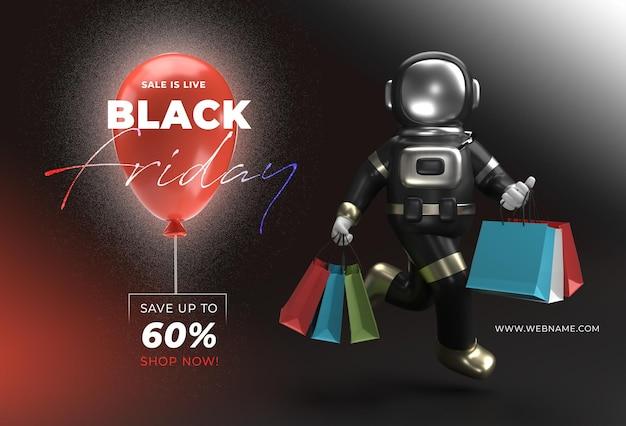 Czarny piątek sprzedaż szablon transparent 3d renderowania.