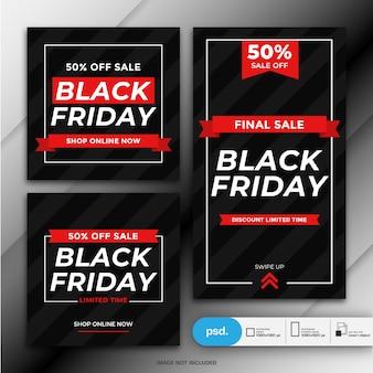 Czarny piątek sprzedaż szablon transparent mediów społecznościowych
