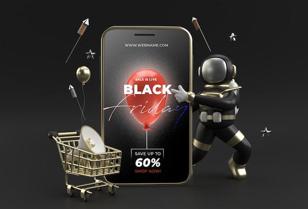 Czarny piątek sprzedaż szablon transparent mobile makieta.