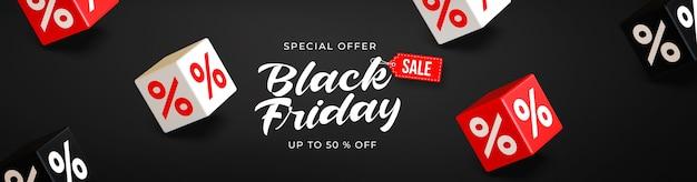 Czarny piątek sprzedaż szablon transparent z 3d czarnymi, czerwonymi i białymi kostkami z procentami