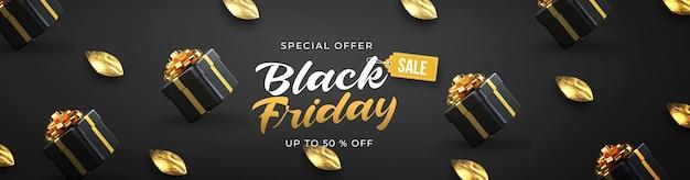 Czarny piątek sprzedaż szablon transparent z 3d czarnymi pudełkami na prezenty i złotym liściem