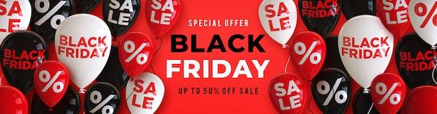 Czarny piątek sprzedaż szablon transparent z czarnymi, białymi i czerwonymi błyszczącymi balonami