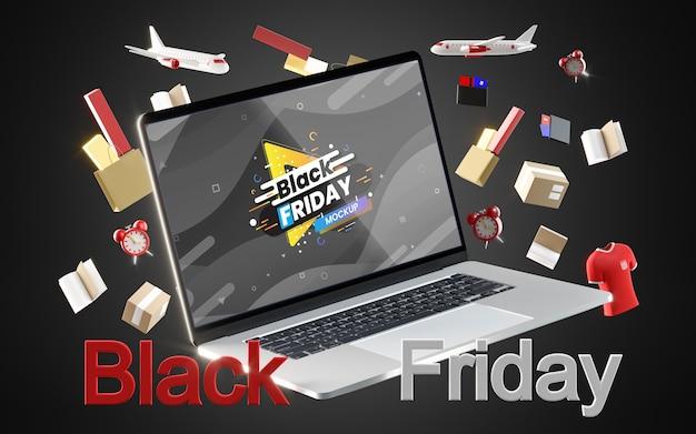 Czarny piątek sprzedaży cyfrowej na czarnym tle