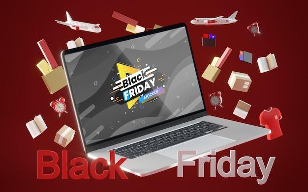 Czarny piątek sprzedaży cyfrowej na czerwonym tle