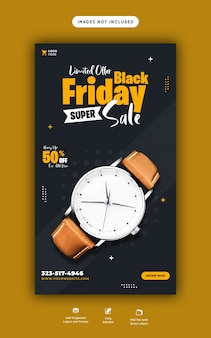 Czarny piątek super sprzedaż instagram i szablon transparent historii na facebooku
