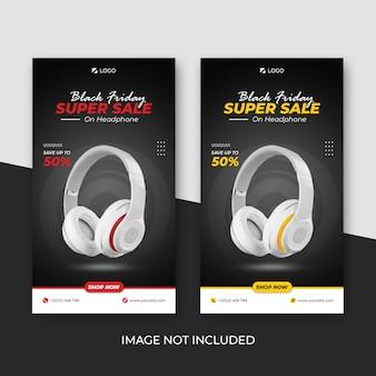 Czarny piątek super sprzedaż kolekcja słuchawek social media baner insta